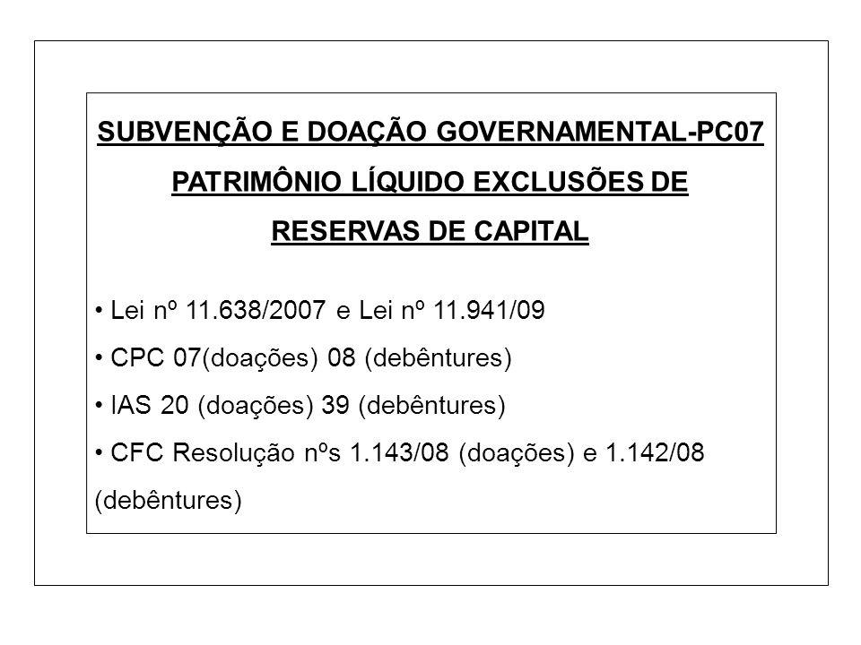 SUBVENÇÃO E DOAÇÃO GOVERNAMENTAL-PC07 PATRIMÔNIO LÍQUIDO EXCLUSÕES DE RESERVAS DE CAPITAL