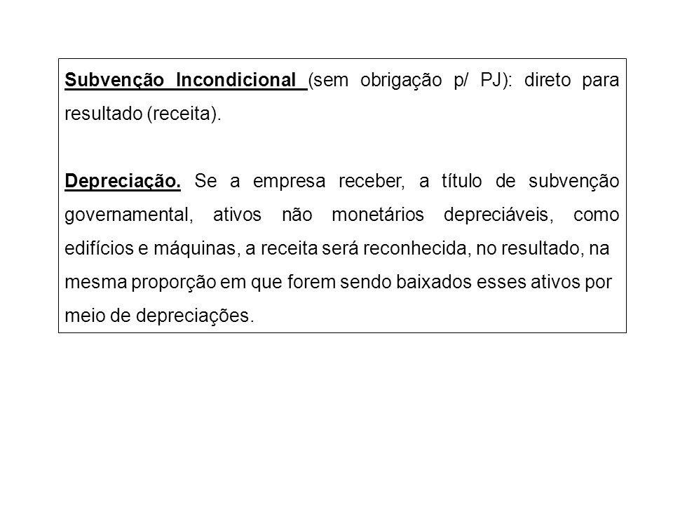 Subvenção Incondicional (sem obrigação p/ PJ): direto para resultado (receita).