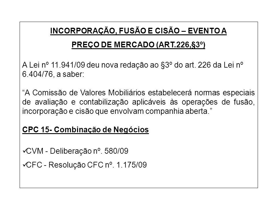 INCORPORAÇÃO, FUSÃO E CISÃO – EVENTO A PREÇO DE MERCADO (ART.226,§3º)