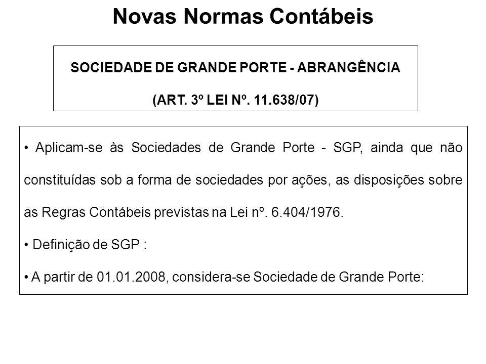 Novas Normas Contábeis SOCIEDADE DE GRANDE PORTE - ABRANGÊNCIA