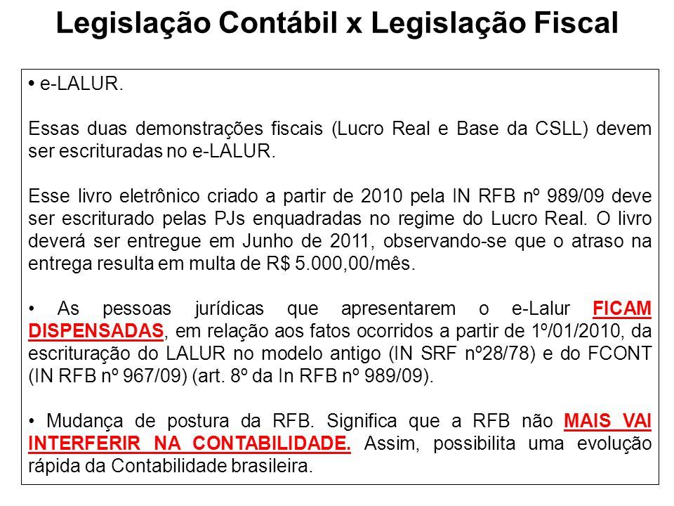 Legislação Contábil x Legislação Fiscal