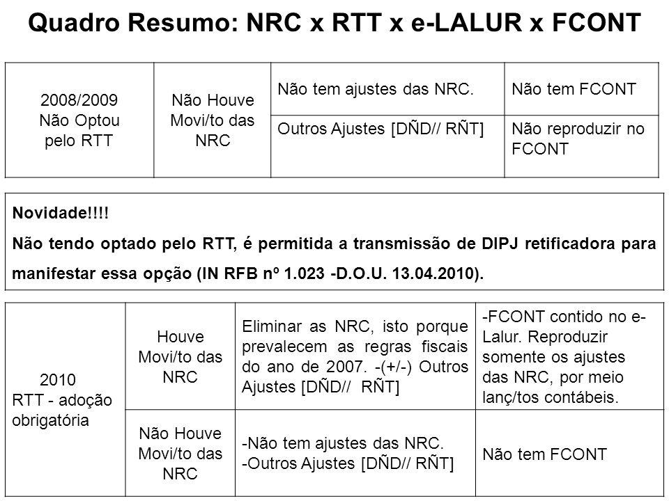 Quadro Resumo: NRC x RTT x e-LALUR x FCONT