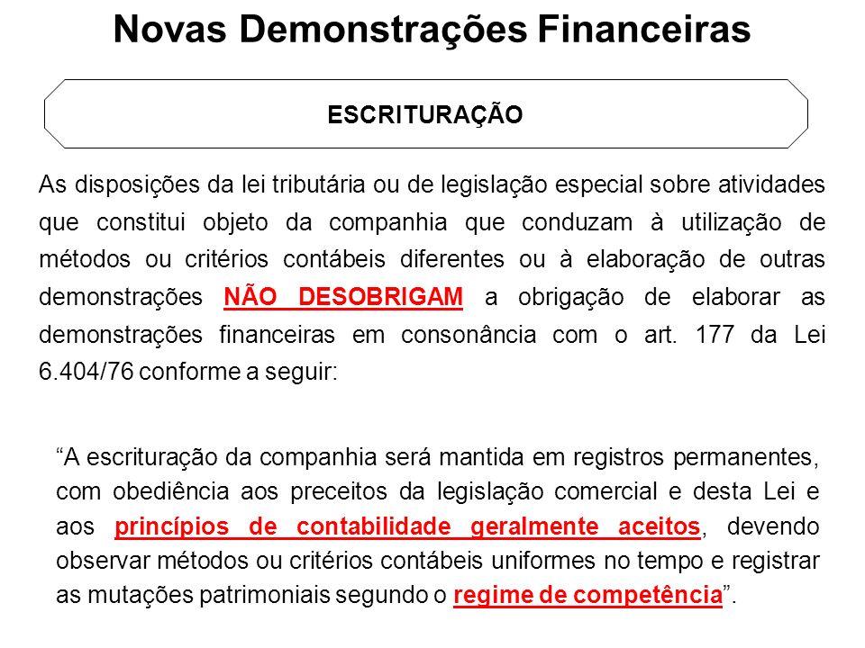 Novas Demonstrações Financeiras