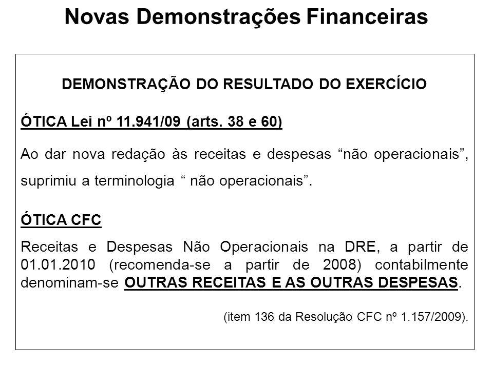 Novas Demonstrações Financeiras DEMONSTRAÇÃO DO RESULTADO DO EXERCÍCIO