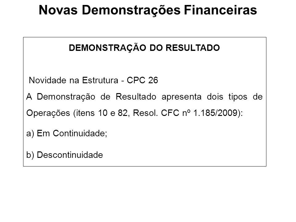 Novas Demonstrações Financeiras DEMONSTRAÇÃO DO RESULTADO