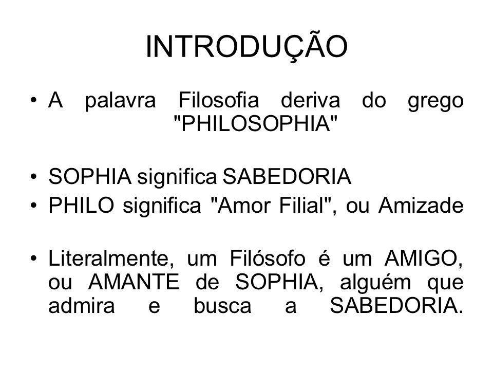 INTRODUÇÃO A palavra Filosofia deriva do grego PHILOSOPHIA