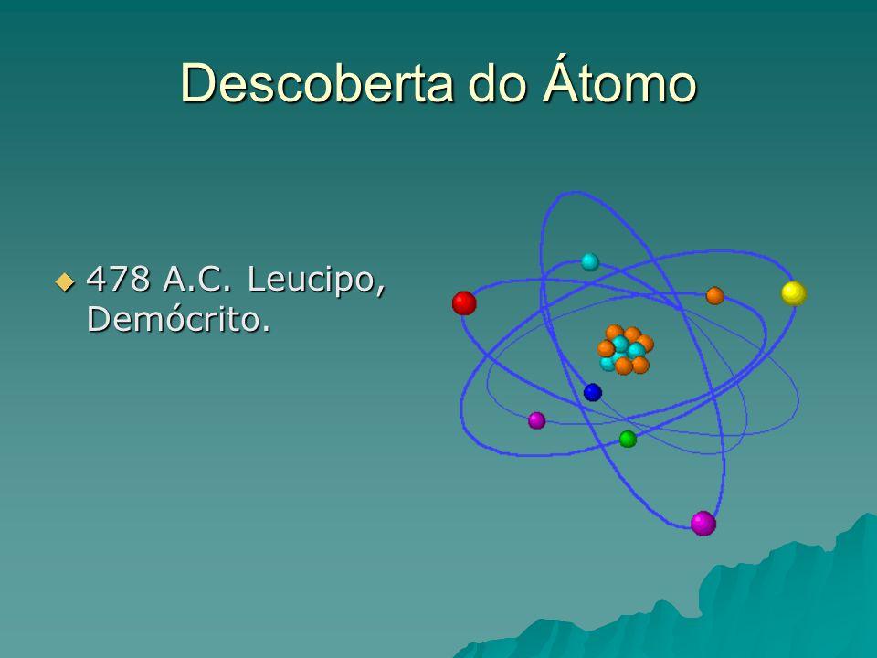 Descoberta do Átomo 478 A.C. Leucipo, Demócrito.