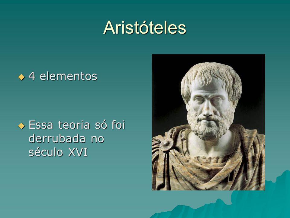 Aristóteles 4 elementos Essa teoria só foi derrubada no século XVI