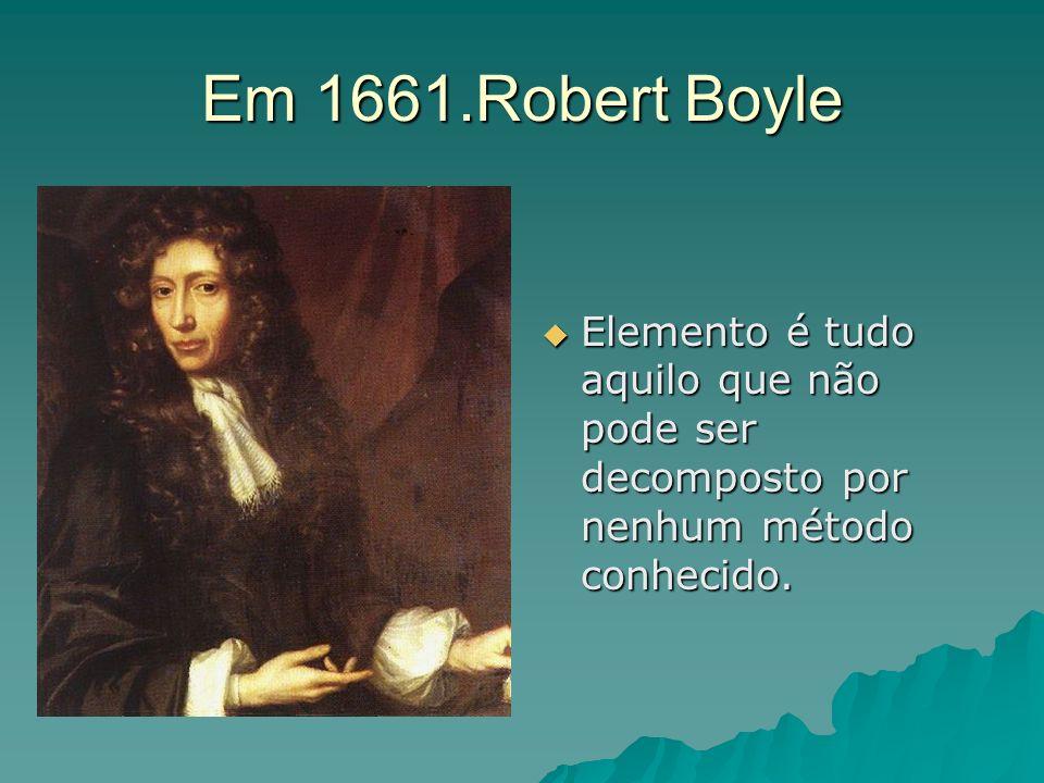 Em 1661.Robert BoyleElemento é tudo aquilo que não pode ser decomposto por nenhum método conhecido.