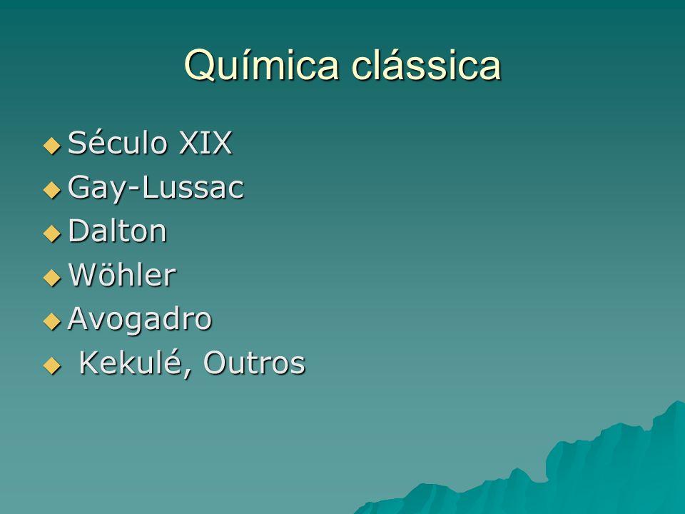 Química clássica Século XIX Gay-Lussac Dalton Wöhler Avogadro