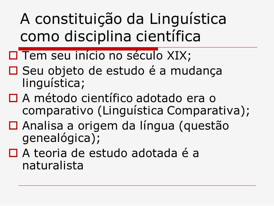 A constituição da Linguística como disciplina científica