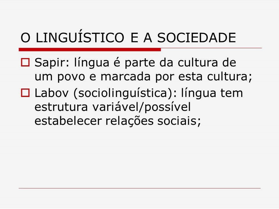 O LINGUÍSTICO E A SOCIEDADE