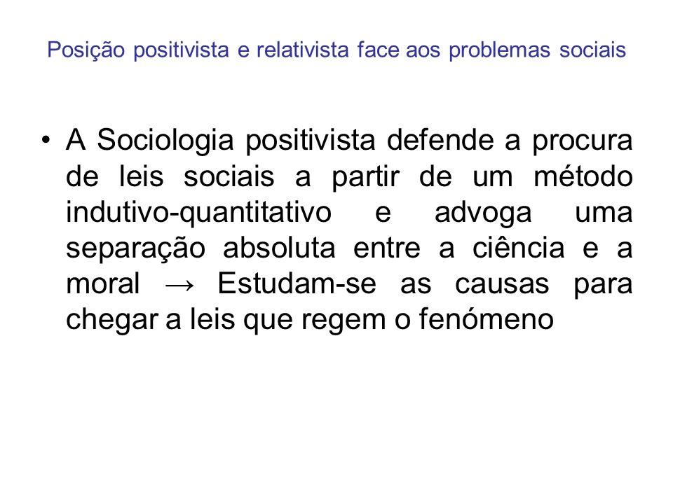 Posição positivista e relativista face aos problemas sociais