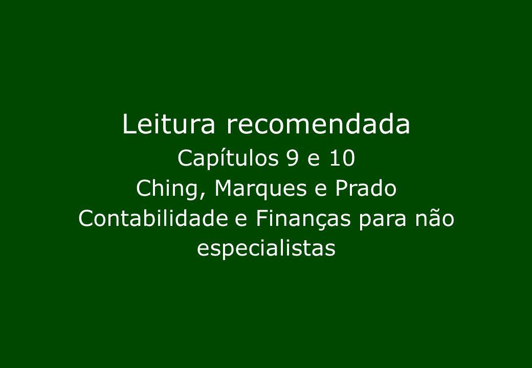 Leitura recomendada Capítulos 9 e 10 Ching, Marques e Prado Contabilidade e Finanças para não especialistas.
