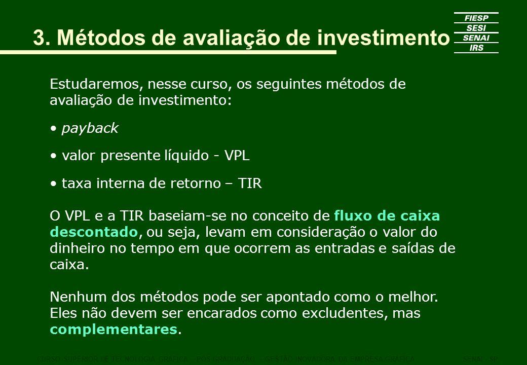 3. Métodos de avaliação de investimento