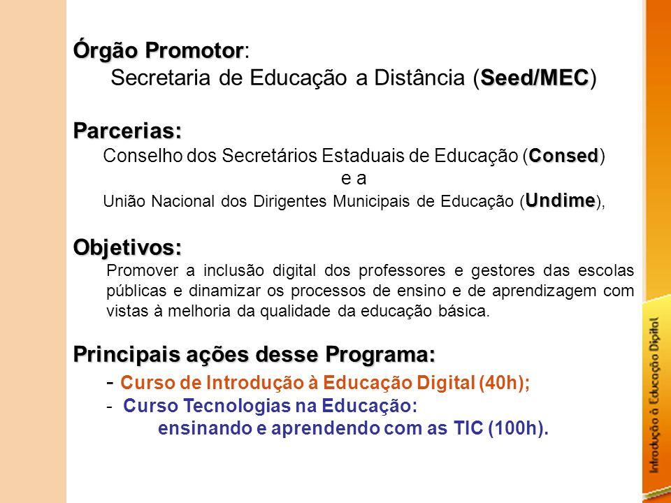 Secretaria de Educação a Distância (Seed/MEC) Parcerias:
