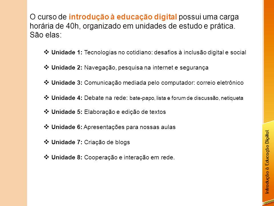 O curso de introdução à educação digital possui uma carga horária de 40h, organizado em unidades de estudo e prática.