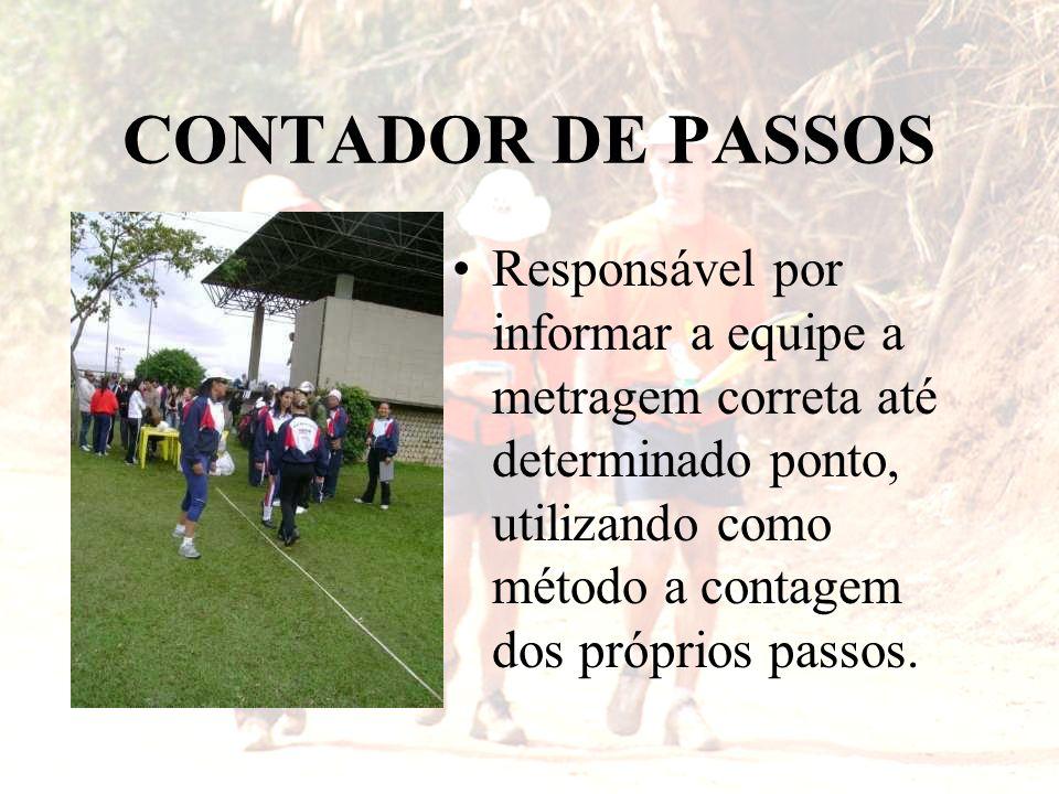 CONTADOR DE PASSOS Responsável por informar a equipe a metragem correta até determinado ponto, utilizando como método a contagem dos próprios passos.