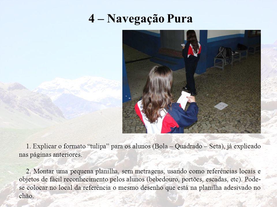 4 – Navegação Pura 1. Explicar o formato tulipa para os alunos (Bola – Quadrado – Seta), já explicado nas páginas anteriores.