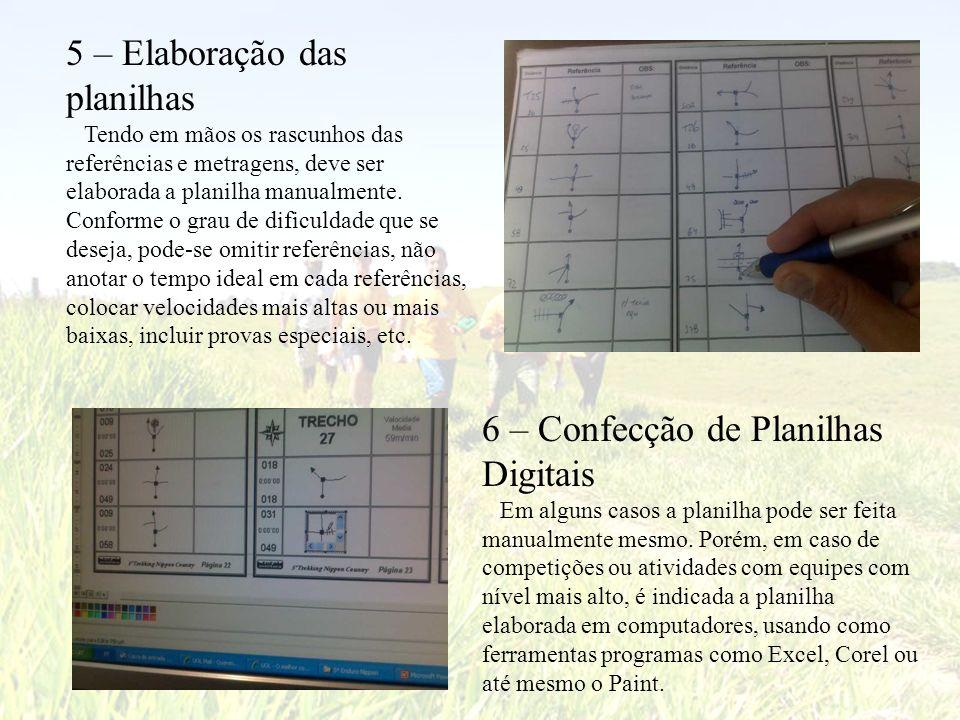 5 – Elaboração das planilhas