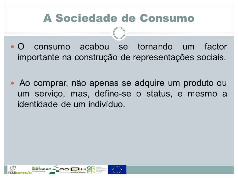 A Sociedade de Consumo O consumo acabou se tornando um factor importante na construção de representações sociais.