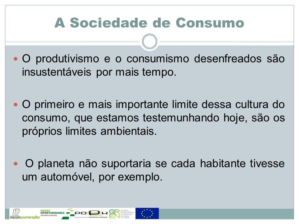 A Sociedade de Consumo O produtivismo e o consumismo desenfreados são insustentáveis por mais tempo.