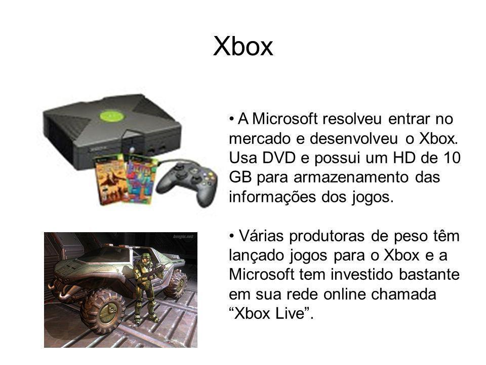 Xbox A Microsoft resolveu entrar no mercado e desenvolveu o Xbox. Usa DVD e possui um HD de 10 GB para armazenamento das informações dos jogos.