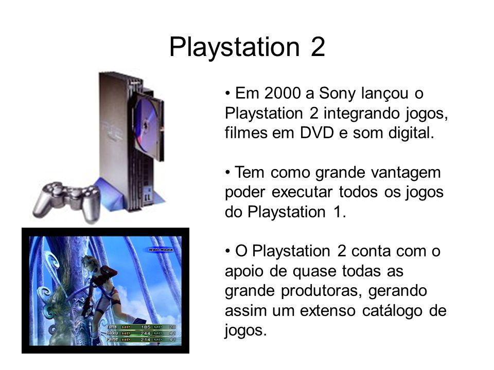 Playstation 2 Em 2000 a Sony lançou o Playstation 2 integrando jogos, filmes em DVD e som digital.