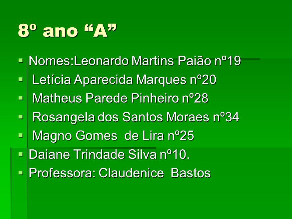 8º ano A Nomes:Leonardo Martins Paião nº19
