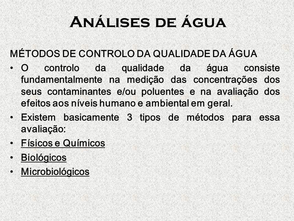 Análises de água MÉTODOS DE CONTROLO DA QUALIDADE DA ÁGUA