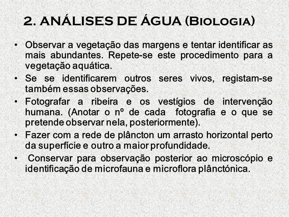 2. ANÁLISES DE ÁGUA (Biologia)