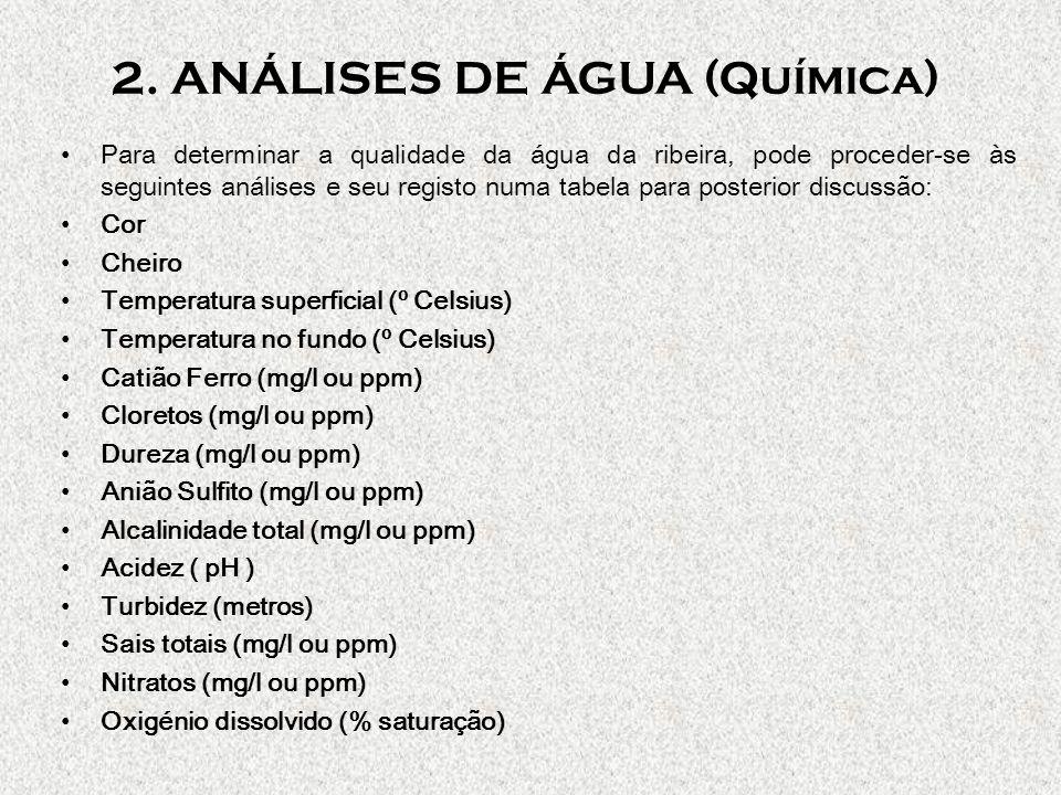 2. ANÁLISES DE ÁGUA (Química)