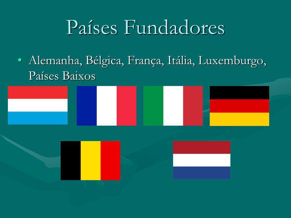 Países Fundadores Alemanha, Bélgica, França, Itália, Luxemburgo, Países Baixos