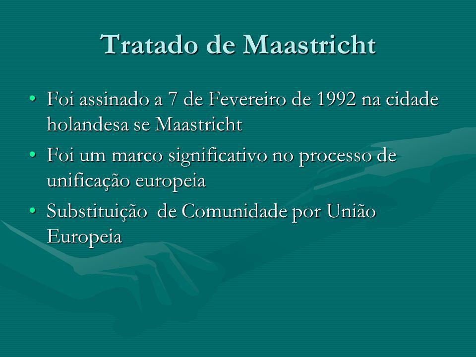 Tratado de Maastricht Foi assinado a 7 de Fevereiro de 1992 na cidade holandesa se Maastricht.