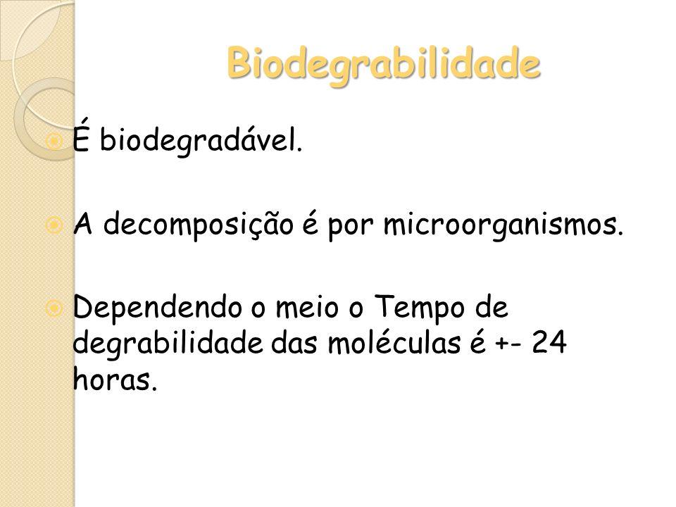 Biodegrabilidade É biodegradável.
