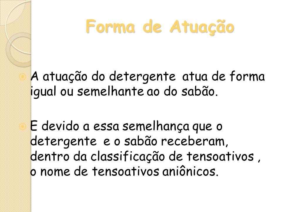 Forma de Atuação A atuação do detergente atua de forma igual ou semelhante ao do sabão.