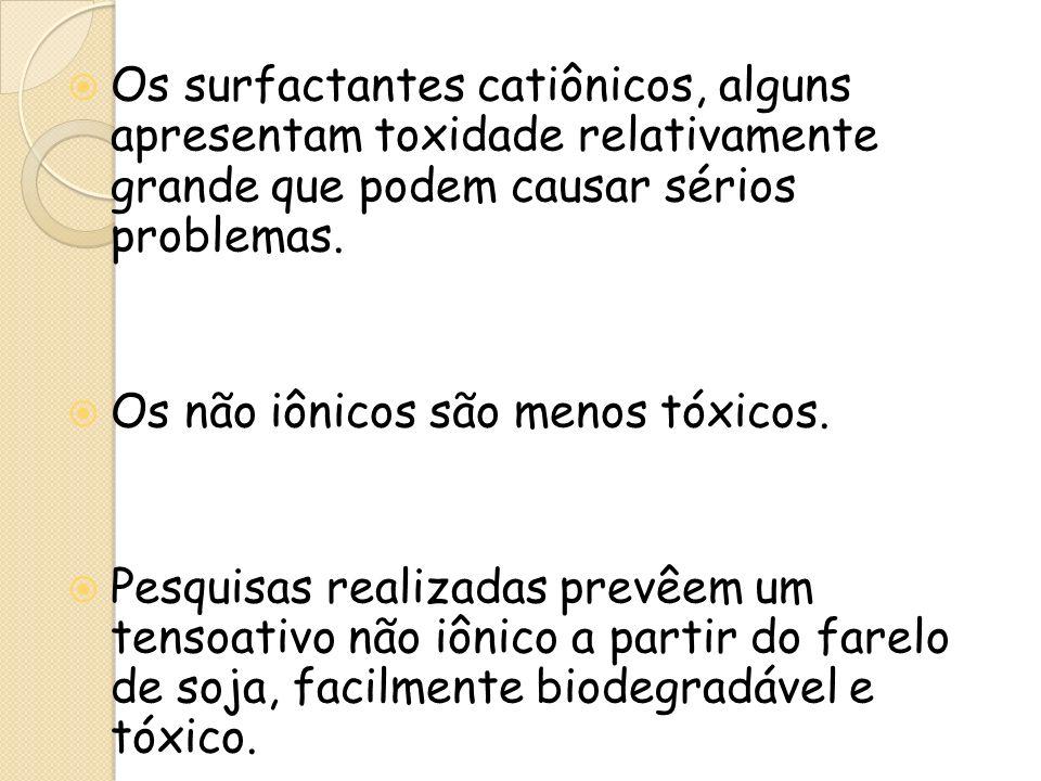 Os surfactantes catiônicos, alguns apresentam toxidade relativamente grande que podem causar sérios problemas.