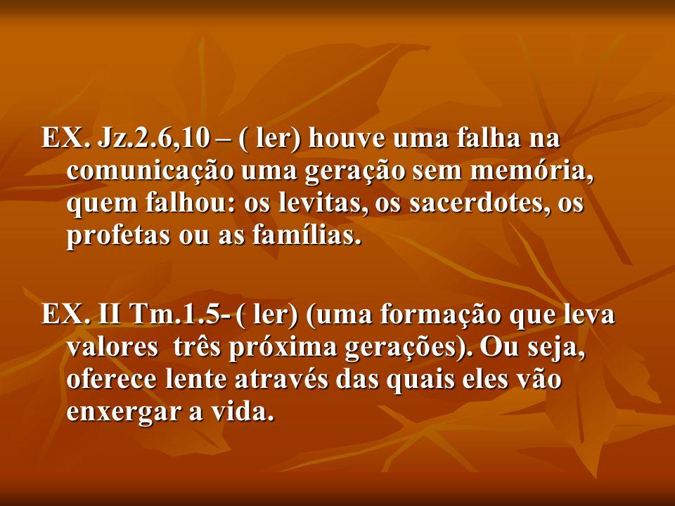 EX. Jz.2.6,10 – ( ler) houve uma falha na comunicação uma geração sem memória, quem falhou: os levitas, os sacerdotes, os profetas ou as famílias.