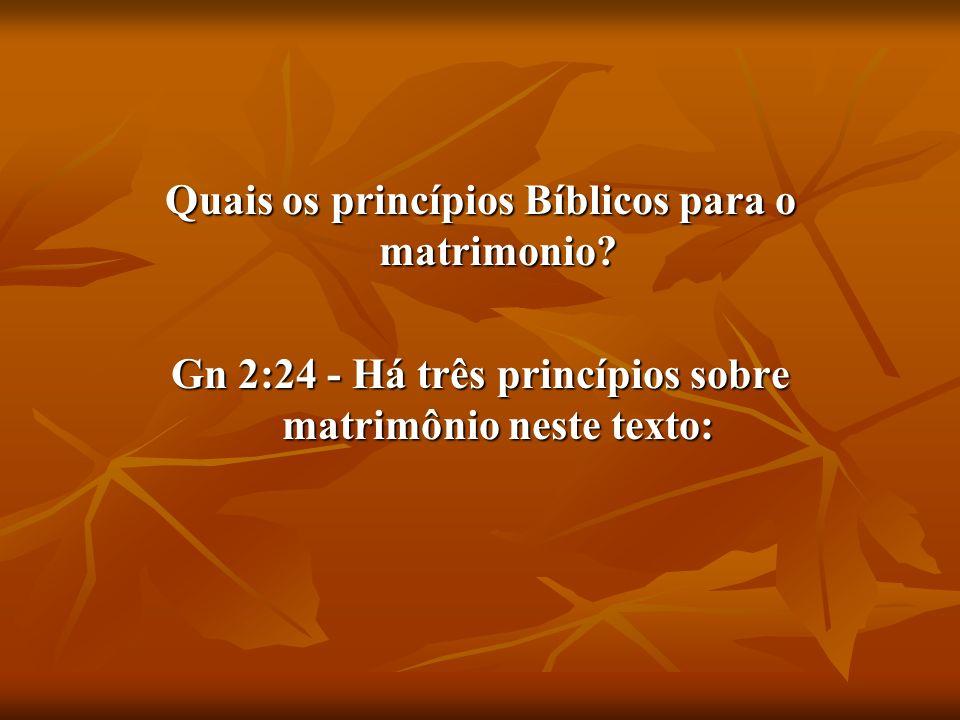 Quais os princípios Bíblicos para o matrimonio
