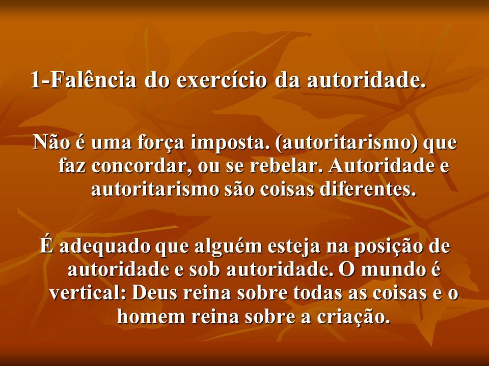 1-Falência do exercício da autoridade.