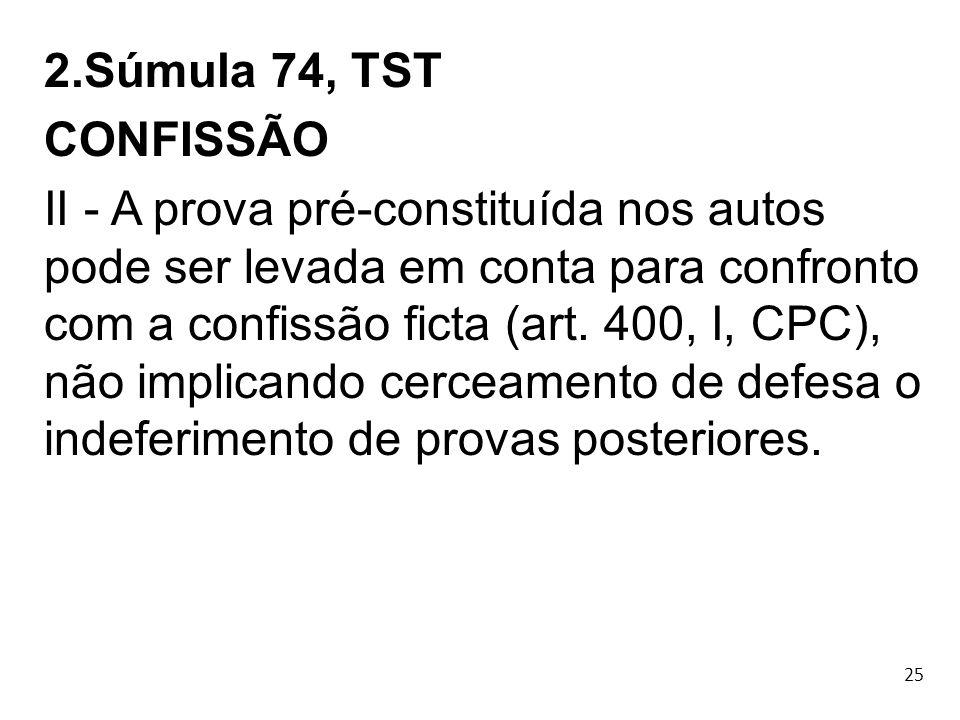2.Súmula 74, TST CONFISSÃO.