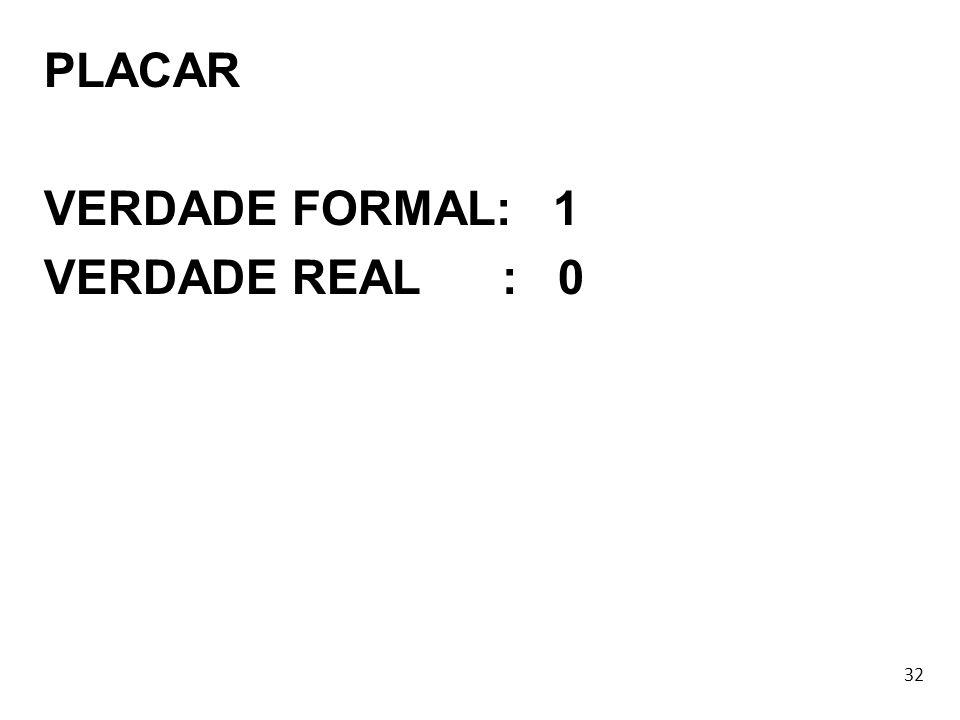 PLACAR VERDADE FORMAL: 1 VERDADE REAL : 0 32