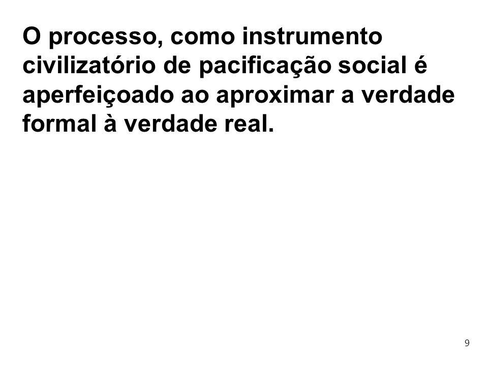 O processo, como instrumento civilizatório de pacificação social é aperfeiçoado ao aproximar a verdade formal à verdade real.