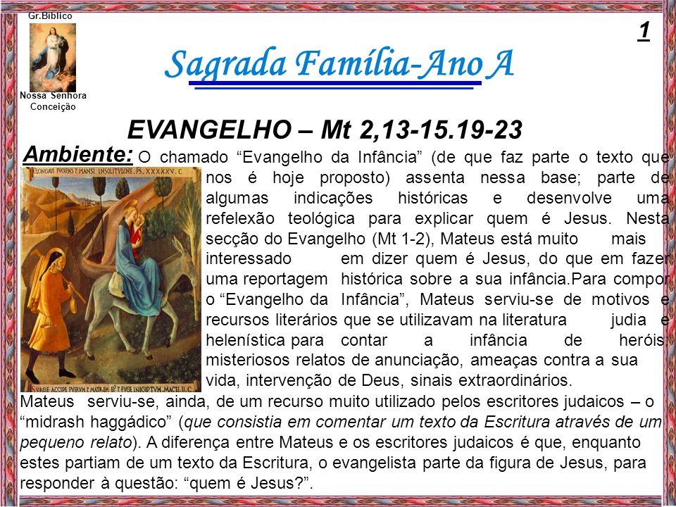 EVANGELHO – Mt 2,13-15.19-23 1 Ambiente: