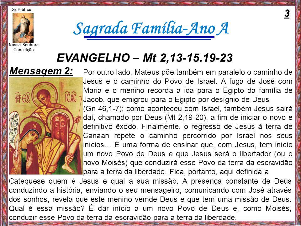 EVANGELHO – Mt 2,13-15.19-23 3 Mensagem 2: