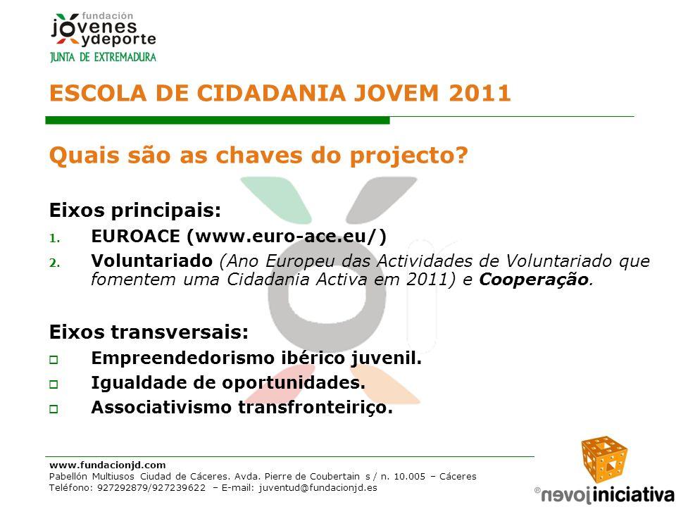 ESCOLA DE CIDADANIA JOVEM 2011 Quais são as chaves do projecto