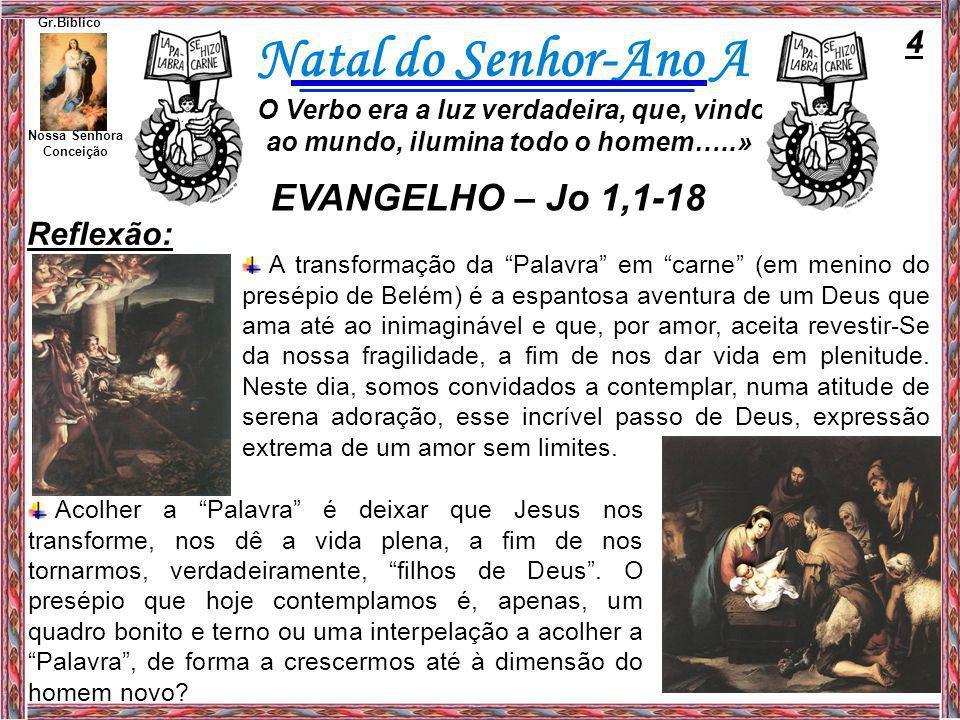 EVANGELHO – Jo 1,1-18 4 Reflexão: