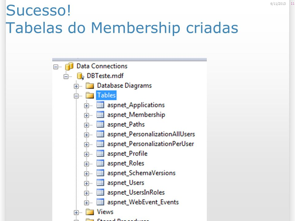 Sucesso! Tabelas do Membership criadas