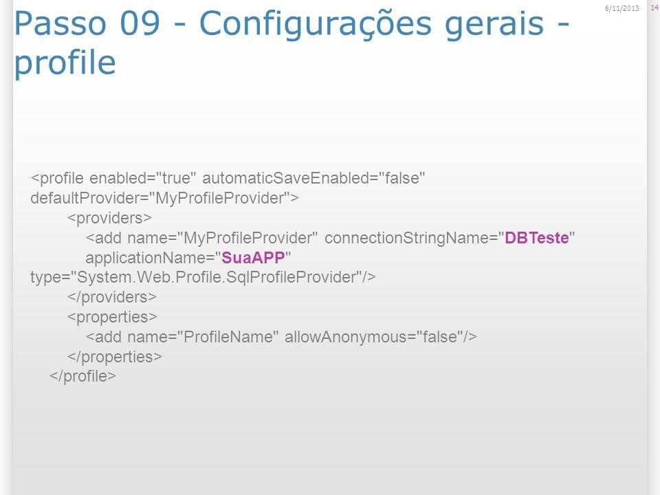 Passo 09 - Configurações gerais - profile