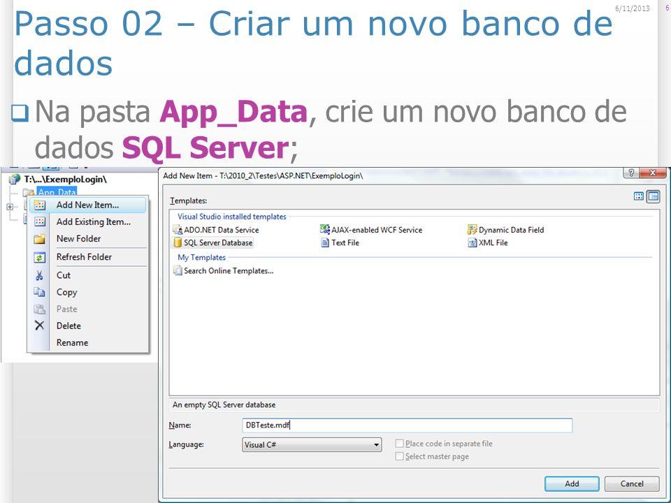 Passo 02 – Criar um novo banco de dados
